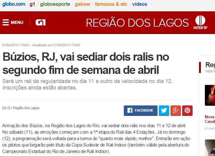 Portal Globo noticiando a estreia da Rallye Brasil (Clique na imagem para acessar matéria completa).